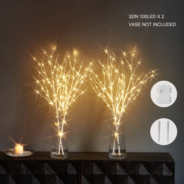 Hairui Lighted Artificial Twig Birch  Branch with Fairy Lights 32IN 100 LED Battery Operated Lighted 2 Set (Vase Excluded)