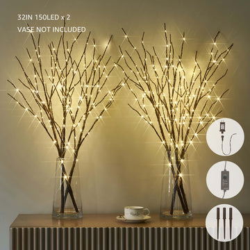 Pre Lit Artificial Brown Twig Branch with Fairy Lights 32in 150 LED Plug in Lighted Willow Branch 2 Sets (Vase Excluded)
