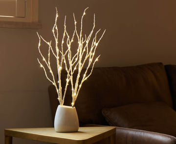 Lighted White Birch Branch 18IN 70 Warm White LED with Timer Battery Operated