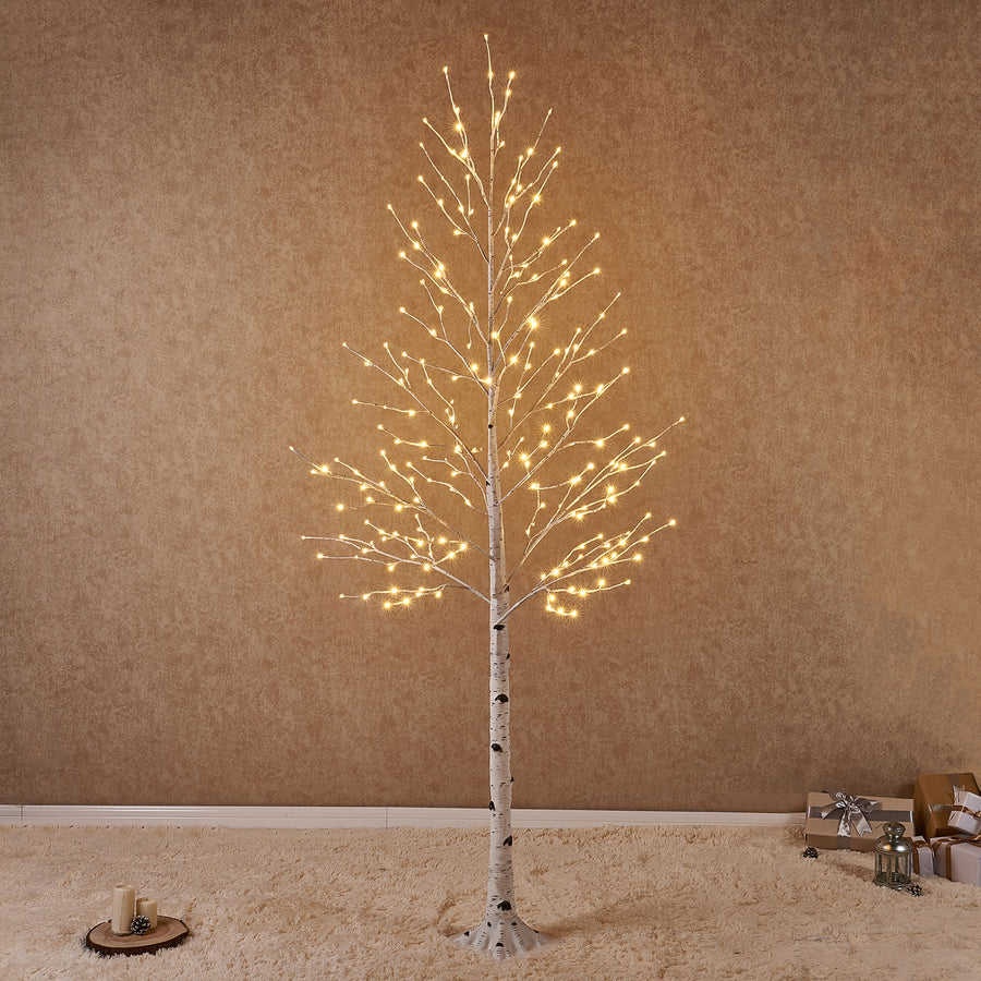 Pre Lit Birch Tree 8FT 240L White Christmas Tree with Partial Twinkling Feature