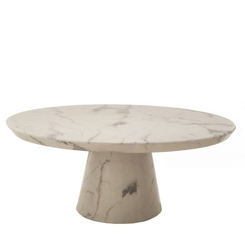 Coffee table disc marble look white