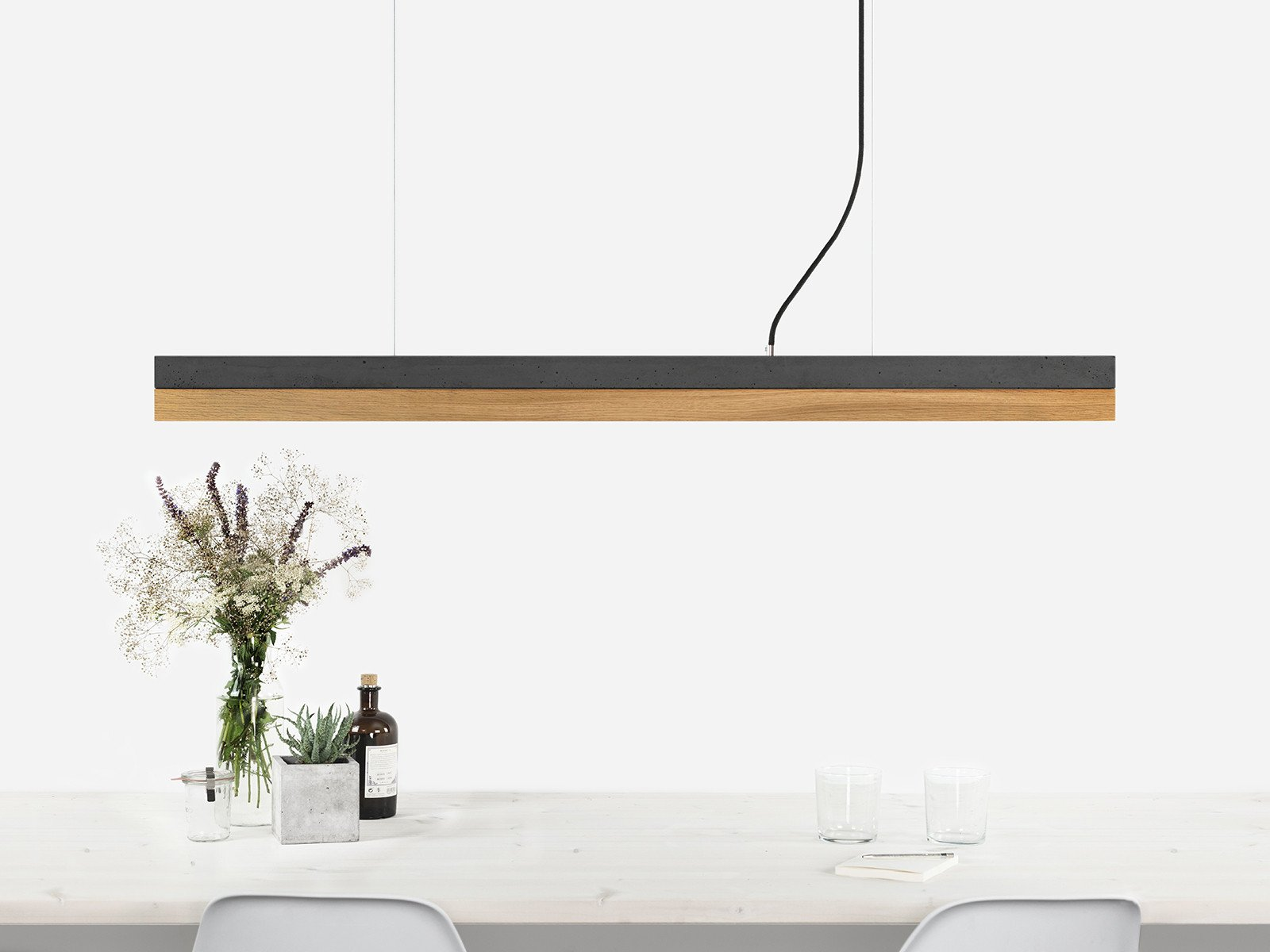 C1 Dark Concrete & Oak Wood Pendant Light - Including Touch-dim Technology