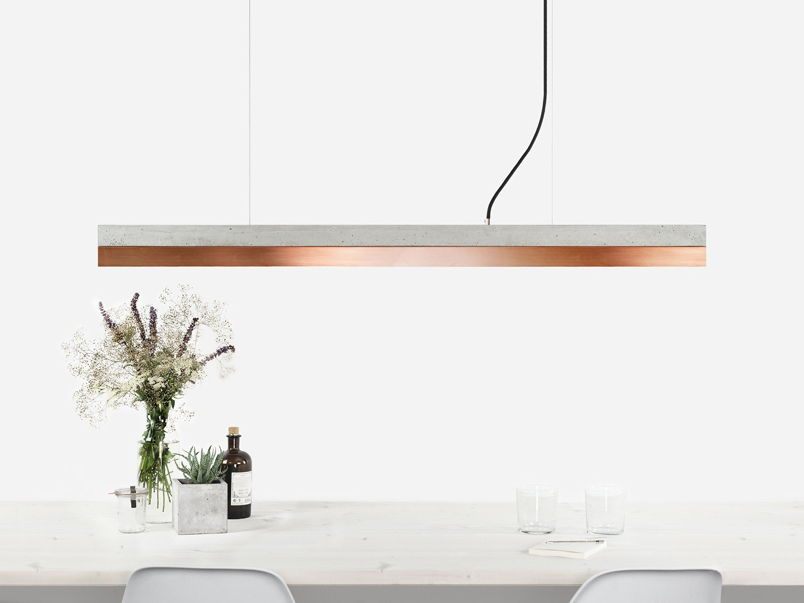 C1 Light Concrete & Copper Pendant Light - Including Touch-dim Technology