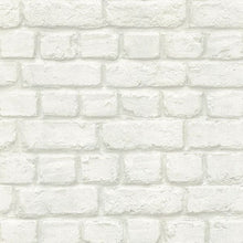 Load image into Gallery viewer, Chugach White Whitewashed Brick Wallpaper
