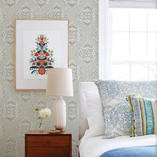 Load image into Gallery viewer, Adele Teal Damask Wallpaper