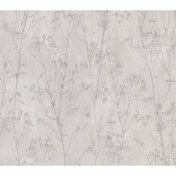 Cordelia Light Grey Floral Silhouettes Wallpaper  2836-802023