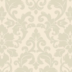 DS29715. Cream and soft green damask