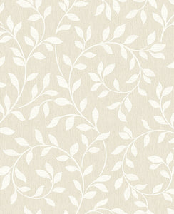 Torrey Taupe Leaf Trail Wallpaper