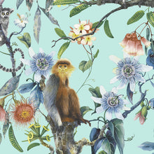 Load image into Gallery viewer, wallpaper, wallpapers, leaves, branches, flowers, floral, lemur