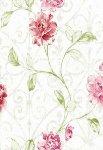 FF90900. White bg.w/rose and green flowers