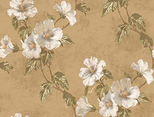 CA7527. Metallic gold bg.w/vineyard floral