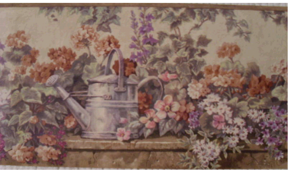 Border w/watering can and flowers. PKB1238