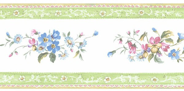 Lime green,pink and blue flora border. PF79509
