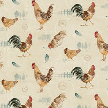 Load image into Gallery viewer, wallpaper, wallpapers, birds, roosters, chickens, feathers, trees, fence, hen house