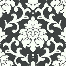 Load image into Gallery viewer, BLACK DAMASK PEEL & STICK WALLPAPER