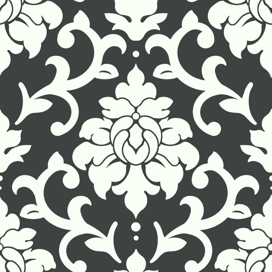 BLACK DAMASK PEEL & STICK WALLPAPER