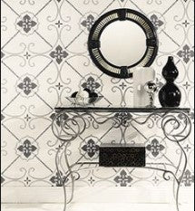 TU27132 white bg. W/ silver and black tile drsign
