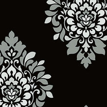 Load image into Gallery viewer, Bw28737. Black bg.damask w/silver