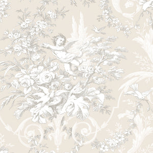 wallpaper, wallpapers, toile, floral, leaves, branches, cherub, scrolls, birds