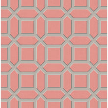Load image into Gallery viewer, CA81301. Coral linen bg. W/taupe trellis