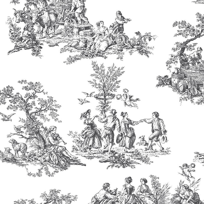 wallpaper, wallpapers, toile, people, trees, scenic, vintage, country life, animals