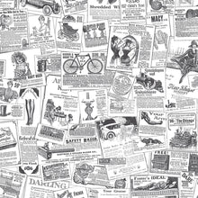 Load image into Gallery viewer, wallpaper, wallpapers, novelty, newspaper, words, pictures, drawings, people, bike, cars