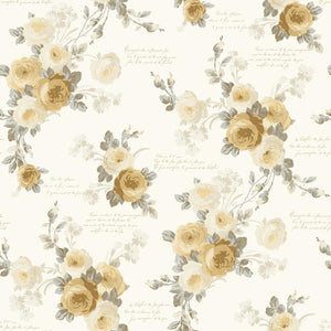 Magnolia Home Heirloom Rose Removable Wallpaper yellow/gray/white