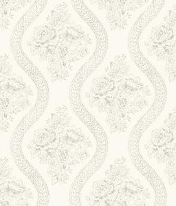 Magnolia Home Coverlet Floral Removable Wallpaper gray/off white