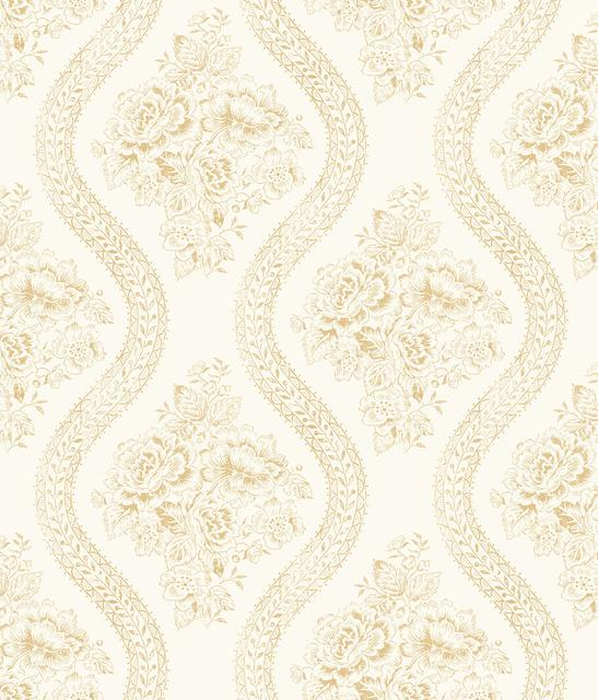 Magnolia Home Coverlet Floral Removable Wallpaper yellow/off white