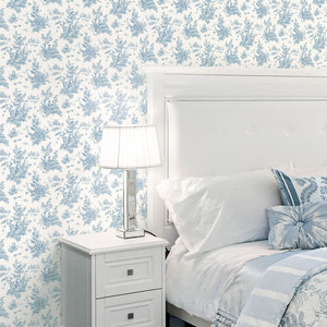 Toile Wallpaper in shades of Blue