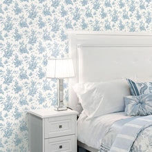 Load image into Gallery viewer, Toile Wallpaper in shades of Blue