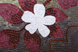 Red Mosaic Wall Mural
