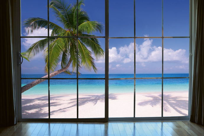 Beach Window View Wall Mural
