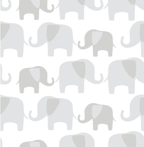 Grey Elephant Parade Peel & Stick Wallpaper