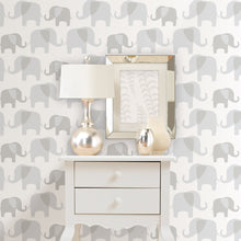 Load image into Gallery viewer, Grey Elephant Parade Peel & Stick Wallpaper