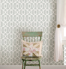 Load image into Gallery viewer, Grey Grand Trellis Peel & Stick Wallpaper