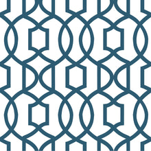 Load image into Gallery viewer, Navy Grand Trellis Peel & Stick Wallpaper