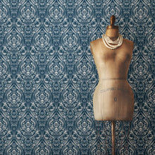 Load image into Gallery viewer, Bohemian Damask Indigo Peel & Stick Wallpaper