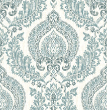 Load image into Gallery viewer, Kensington Damask Blue Peel & Stick Wallpaper