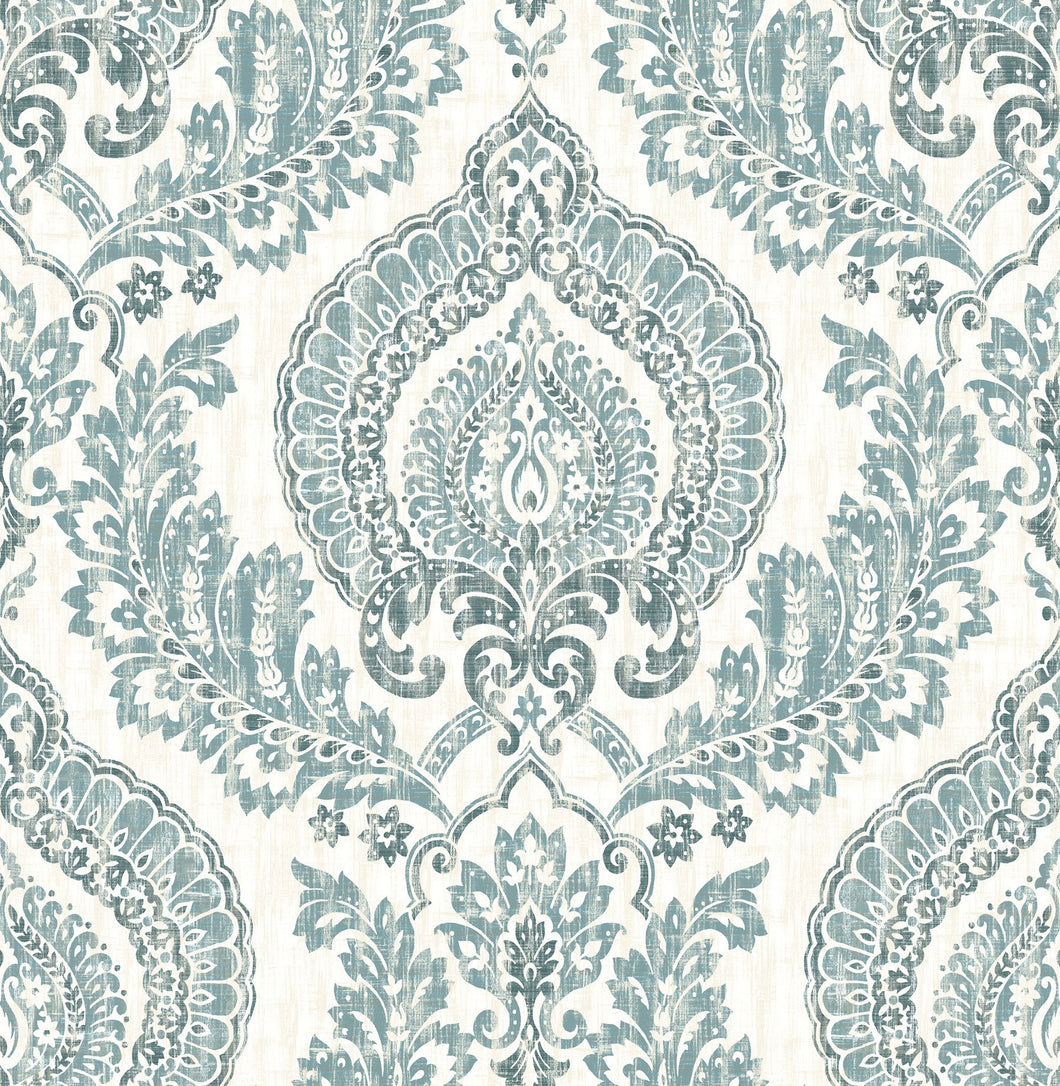 Kensington Damask Blue Peel & Stick Wallpaper