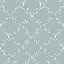 Load image into Gallery viewer, Slate Blue Quatrefoil Peel & Stick Wallpaper