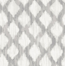 Load image into Gallery viewer, Grey Floating Trellis Peel & Stick Wallpaper