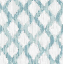 Load image into Gallery viewer, Teal Floating Trellis Peel & Stick Wallpaper