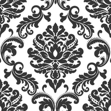 Load image into Gallery viewer, Ariel Black and White Damask Peel & Stick Wallpaper