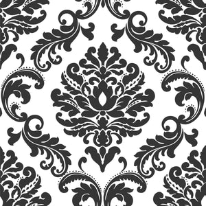 Ariel Black and White Damask Peel & Stick Wallpaper