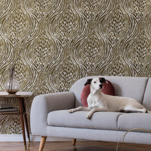 Load image into Gallery viewer, Brown & Gold Fierce Peel & Stick Wallpaper