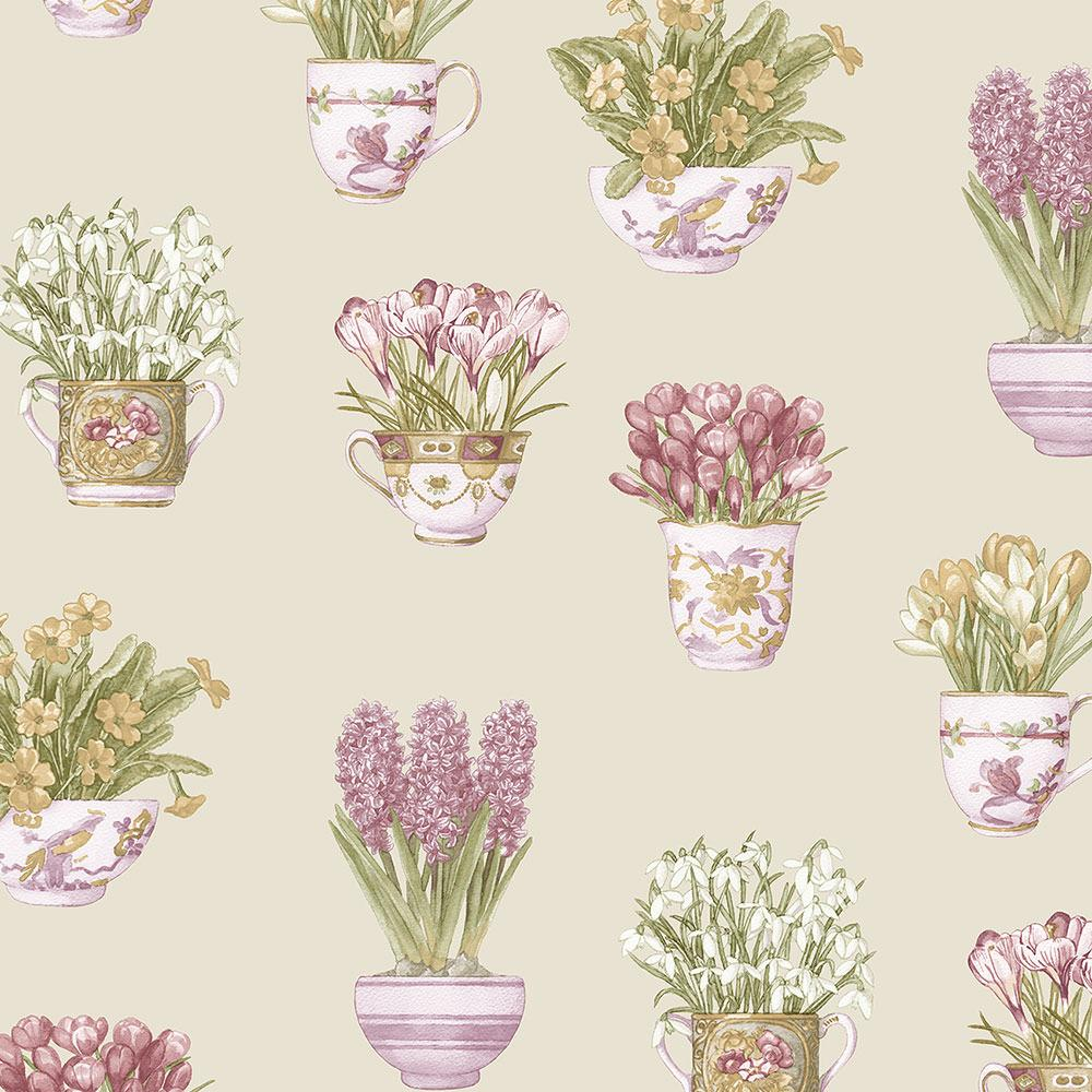 wallpaper, wallpapers, novelty, floral, flowers, leaves, tea cups, cups