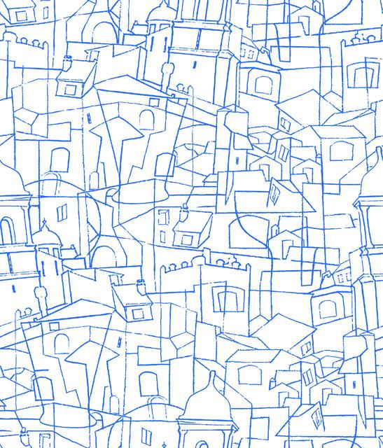 Cubist Cityscape Peel and Stick Wallpaper