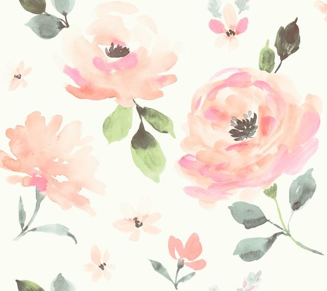 Watercolor Blooms Peel and Stick Wallpaper