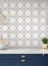Load image into Gallery viewer, Seawater Diamond Trellis Peel and Stick Wallpaper